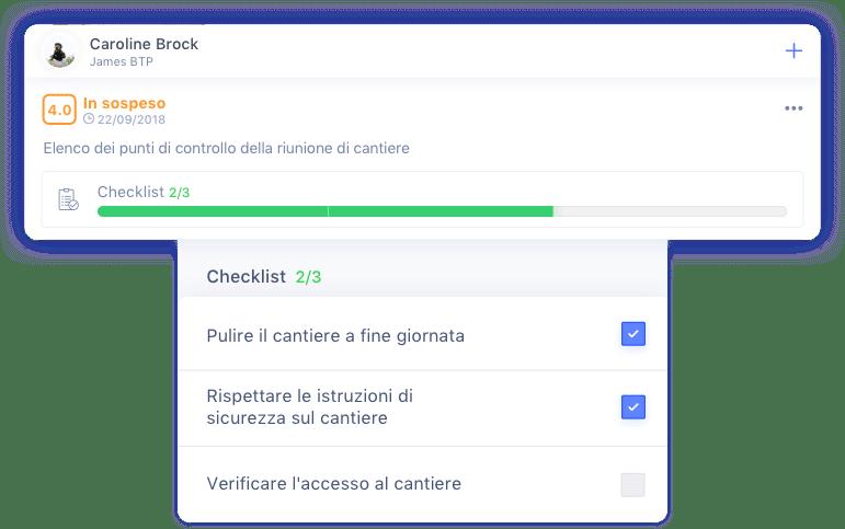 Elenco dei punti di controllo e check-list delle attività