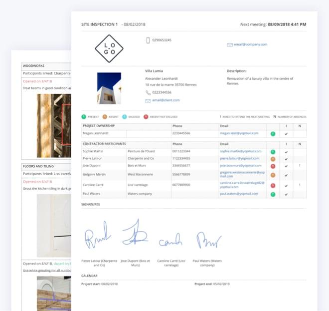 Fonctionnalité Site inspection report