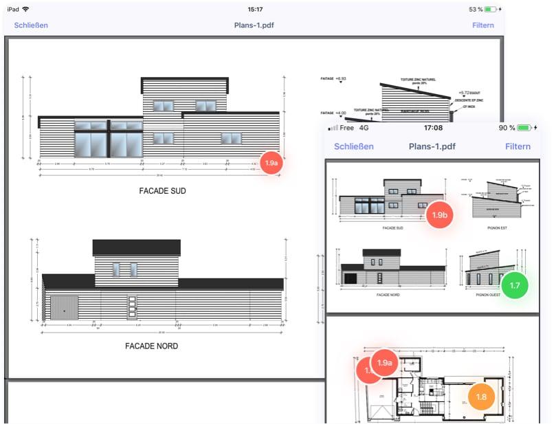 Positionierung auf Fotos und Plänen