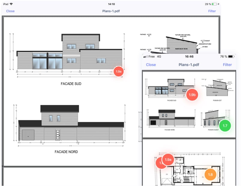 Pinpoint areas on plans and photos