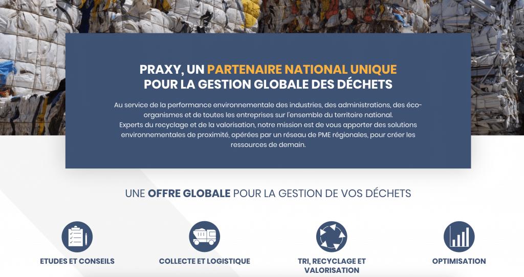 Capture d'écran site web Praxy gestion déchets